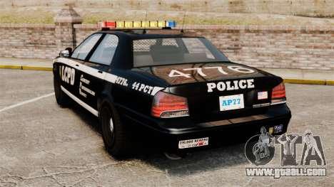GTA V Vapid Police Cruiser [ELS] for GTA 4 back left view