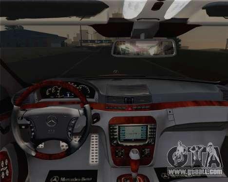 Mercedes-Benz S600 Biturbo 2003 for GTA San Andreas upper view