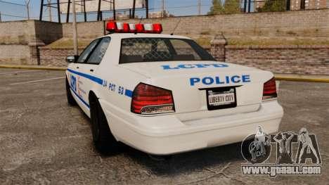GTA V Police Vapid Cruiser LCPD for GTA 4 back left view