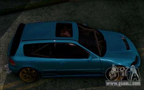 Honda Civic EG6 Tube Frame for GTA San Andreas back left view