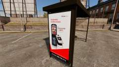 New advertising posters at bus stops
