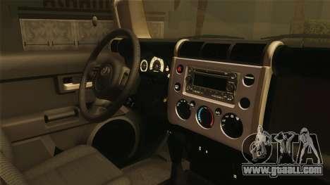 Toyota FJ Cruiser 2012 for GTA San Andreas back view