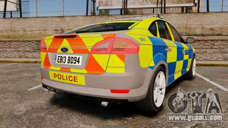 Ford Mondeo Metropolitan Police [ELS] for GTA 4 back left view