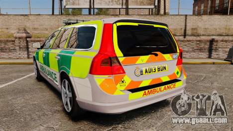 Volvo V70 Ambulance [ELS] for GTA 4 back left view