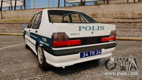 Renault 19 Turkish Police for GTA 4 back left view
