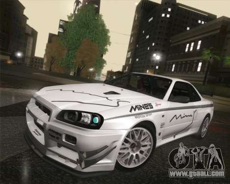 Nissan Skyline Mines R34 2002 for GTA San Andreas inner view