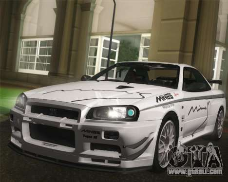 Nissan Skyline Mines R34 2002 for GTA San Andreas back view