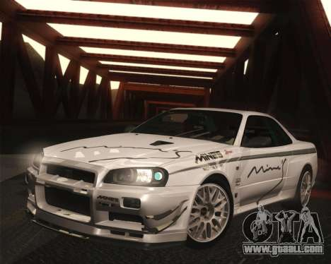Nissan Skyline Mines R34 2002 for GTA San Andreas back left view