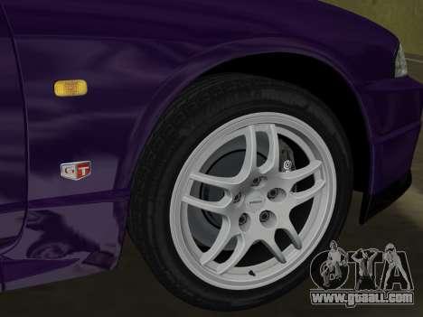 Nissan SKyline GT-R BNR33 for GTA Vice City inner view