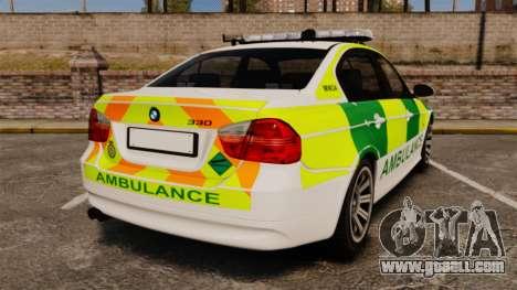 BMW 330i Ambulance [ELS] for GTA 4 back left view