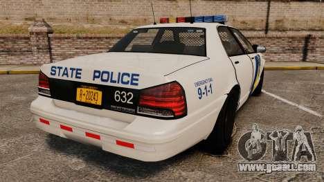 GTA V Vapid State Police Cruiser [ELS] for GTA 4 back left view