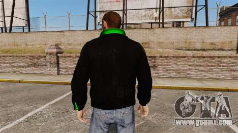 Black jacket with a green Olympic for GTA 4 second screenshot