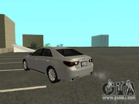 Toyota Mark X for GTA San Andreas back left view
