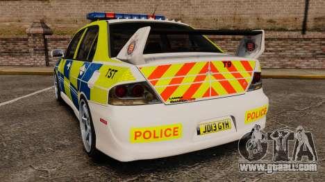 Mitsubishi Lancer Evolution IX Uk Police [ELS] for GTA 4 back left view