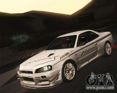 Nissan Skyline Mines R34 2002 for GTA San Andreas right view
