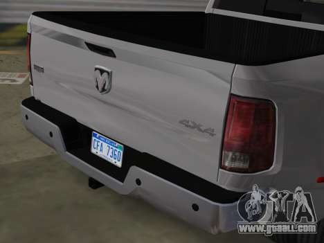 Dodge Ram 3500 Laramie 2012 for GTA Vice City back view