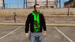 Black jacket with a green Olympic