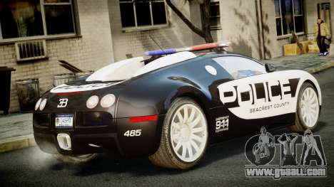 Bugatti Veyron 16.4 Police NFS Hot Pursuit for GTA 4 left view