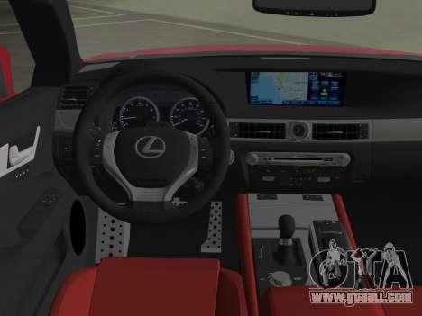 Lexus GS350 F Sport 2013 for GTA Vice City bottom view