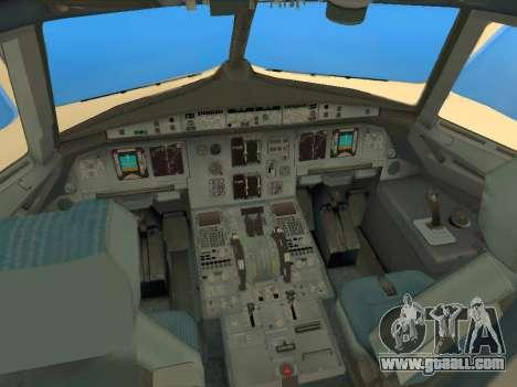 Airbus A320-200 Saudi Arabian for GTA San Andreas inner view
