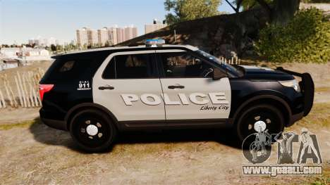 Ford Explorer 2013 LCPD [ELS] Black and Gray for GTA 4 left view