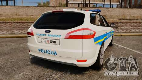 Ford Mondeo Croatian Police [ELS] for GTA 4 back left view
