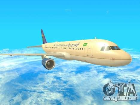 Airbus A320-200 Saudi Arabian for GTA San Andreas left view