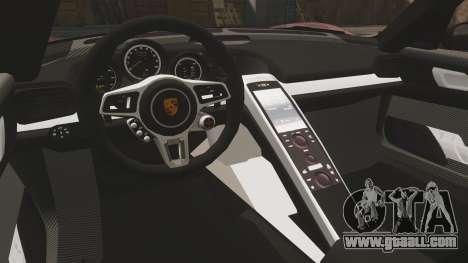 Porsche 918 Spyder for GTA 4 inner view