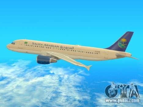 Airbus A320-200 Saudi Arabian for GTA San Andreas back left view