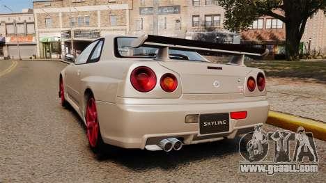 Nissan Skyline GT-R R34 V-Spec II for GTA 4 back left view