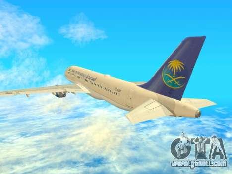Airbus A320-200 Saudi Arabian for GTA San Andreas right view