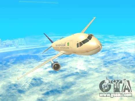 Airbus A320-200 Saudi Arabian for GTA San Andreas back view