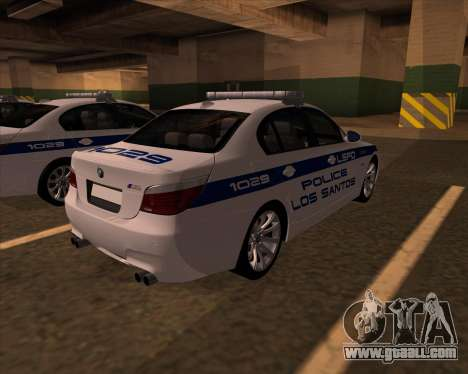 BMW M5 E60 Police LS for GTA San Andreas back left view