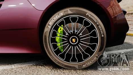 Porsche 918 Spyder for GTA 4 back view