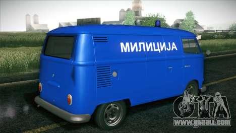 Volkswagen T1 Milicija for GTA San Andreas back left view