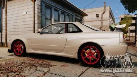 Nissan Skyline GT-R R34 V-Spec II for GTA 4 left view