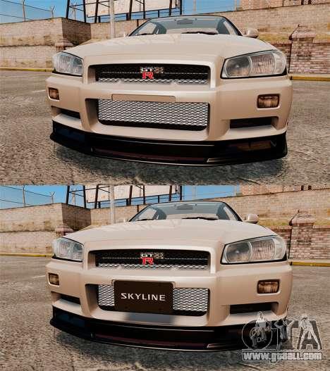 Nissan Skyline GT-R R34 V-Spec II for GTA 4 bottom view