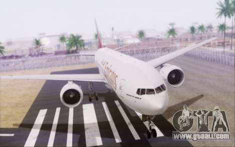 Emirates Airlines 777-200 for GTA San Andreas left view