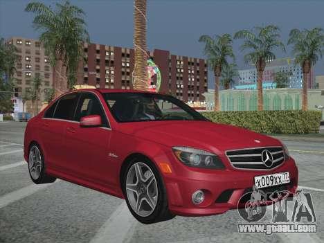 Mercedes-Benz C63 AMG HQLM for GTA San Andreas inner view