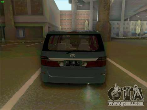 Toyota Alphard for GTA San Andreas back left view