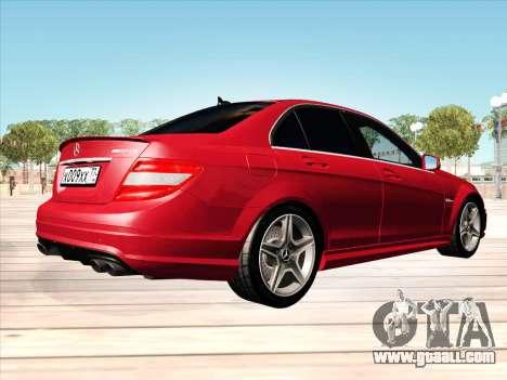 Mercedes-Benz C63 AMG HQLM for GTA San Andreas back left view