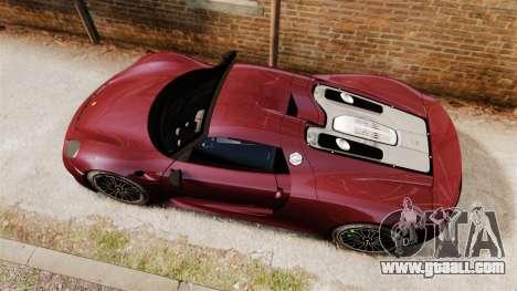 Porsche 918 Spyder for GTA 4 right view