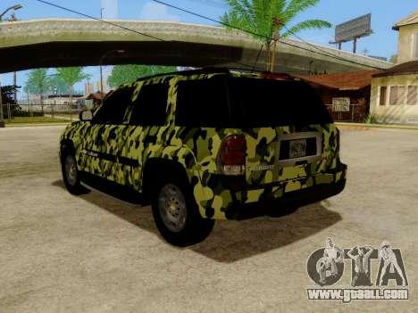 Chevrolet TrailBlazer Army for GTA San Andreas back left view