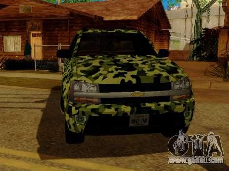 Chevrolet TrailBlazer Army for GTA San Andreas inner view