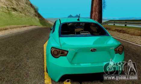 Subaru BRZ for GTA San Andreas inner view