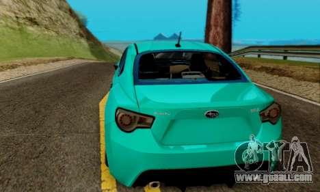 Subaru BRZ for GTA San Andreas inner view