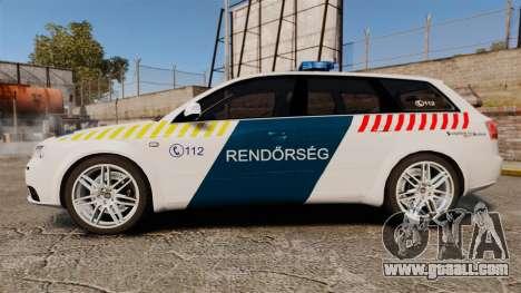 Audi S4 Avant Hungarian Police [ELS] for GTA 4 left view