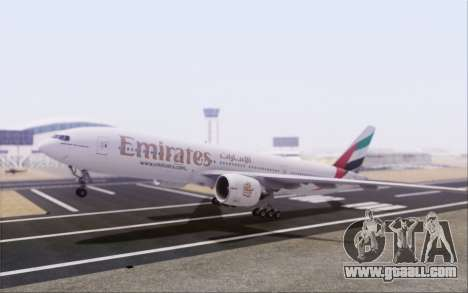 Emirates Airlines 777-200 for GTA San Andreas back left view