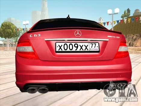 Mercedes-Benz C63 AMG HQLM for GTA San Andreas right view