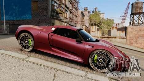 Porsche 918 Spyder for GTA 4 left view